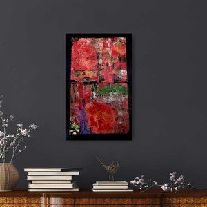 2 Panel Abstract Acrylic Artwork in Red